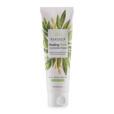 Sữa rửa mặt thảo dược tạo bọt sạch sâu trị mụn mờ sẹo chống lão hóa Beauskin Healing Herb Cleansing Foam, Hàn Quốc 120 ml